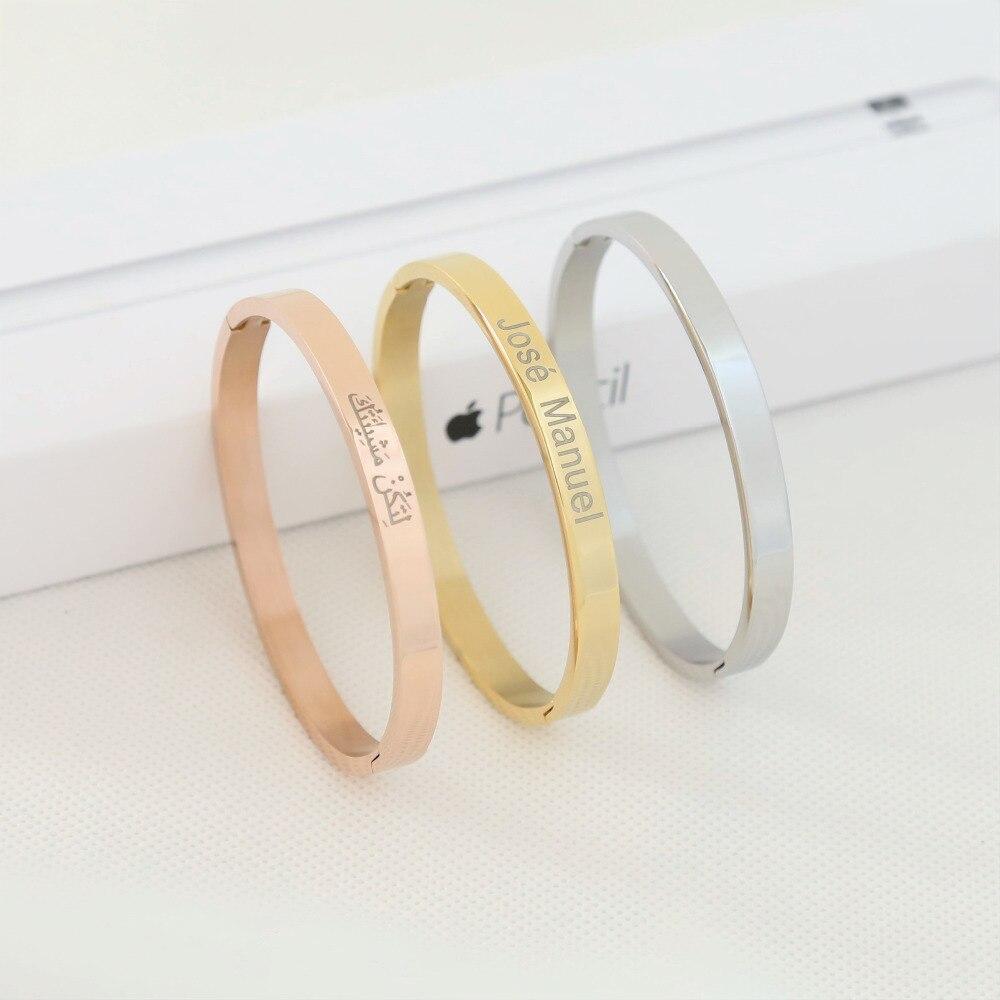 Gepersonaliseerde Europa Titanium Armband Liefhebbers Opening Custom Gegraveerde DIY Rose Gold Belettering Rvs Hand Vrouwen Sieraden