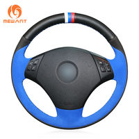 Steering Wheel Cover Wrap Around Sewing by Hand Black Leather Steering Cover for BMW 3 Series E90 E91 E92 E93
