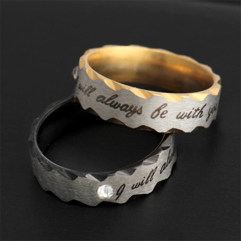 Rongqing 12pcs/lot i Will Always Be With You Letter Stainless Steel Couple Rings For Women Wedding Rings Agreeable To Taste Engagement Rings