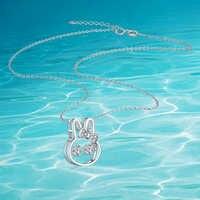 Collar con colgante de conejo blanco de Plata de Ley 925 Real Cadena de clavícula para mujer artículo de Adorn collar de encanto dinámico