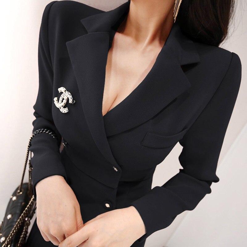 Manches Col 2019 D'affaires Coréennes Robe Ol Mode Bureau Crayon Cranté Black Femmes Travail Longues Blazer Printemps Nouveau Foamlina red qCW1FF