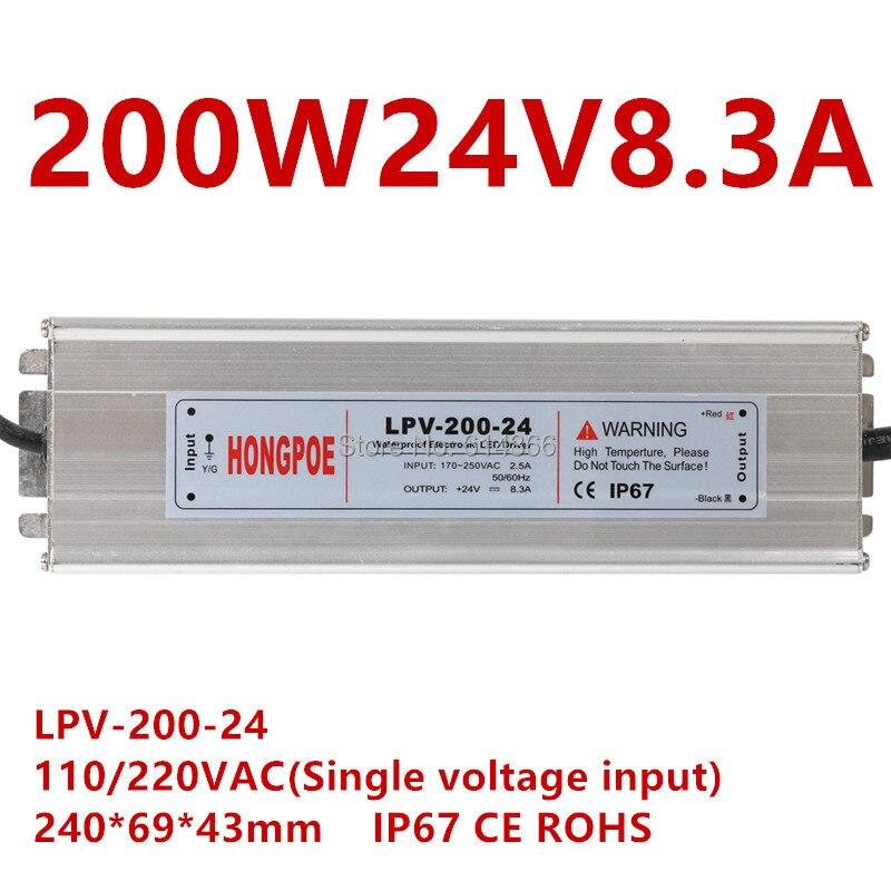 1pcs IP67 AC DC LED driver 200W 24V power supply 200W 24V 8 3A LED Strip