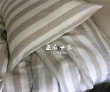 1M Stripe Pure Linen fabric Enzyme Soft washed yarn dyed stripe 165gsm Weight 110inch (280cm) width 4cm grey and ivory