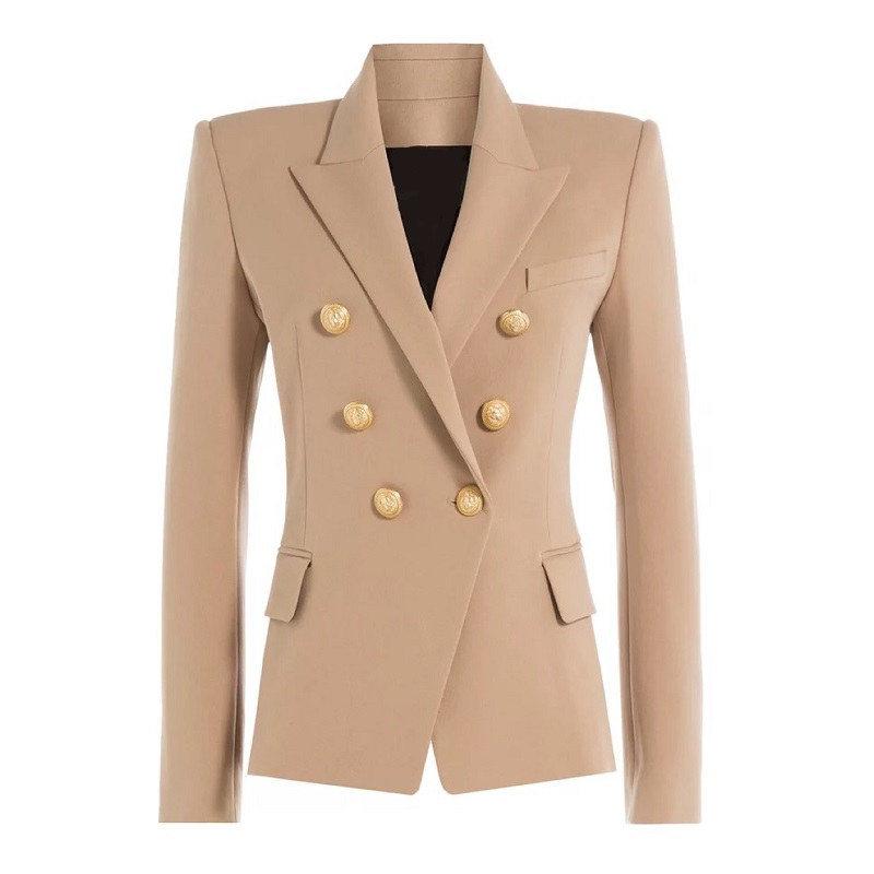 Autumn Winter 2018 Runway Designer Formally Blazer Women Gold Lion Buttons Double Breasted Ladies Office Coat