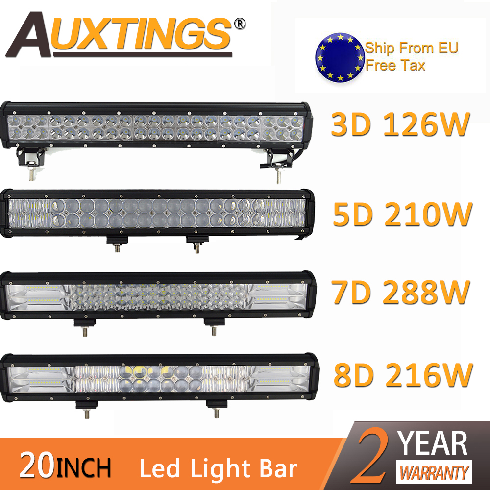 Auxtings 20 Inch 20'' LED Bar LED Light Bar For Car Tractor Boat OffRoad Off Road 4WD 4x4 Truck SUV ATV Driving 12V 24V 5D 7D 8D