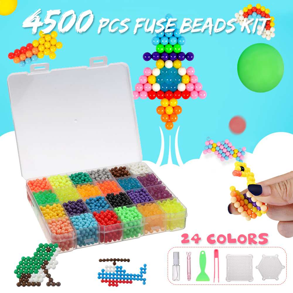 4500pcs 24 Colors Water Fuse Beads Kit Magic Water Sticky Pegboard Set Puzzle Education Toys Children Kids Good Gifts(China)