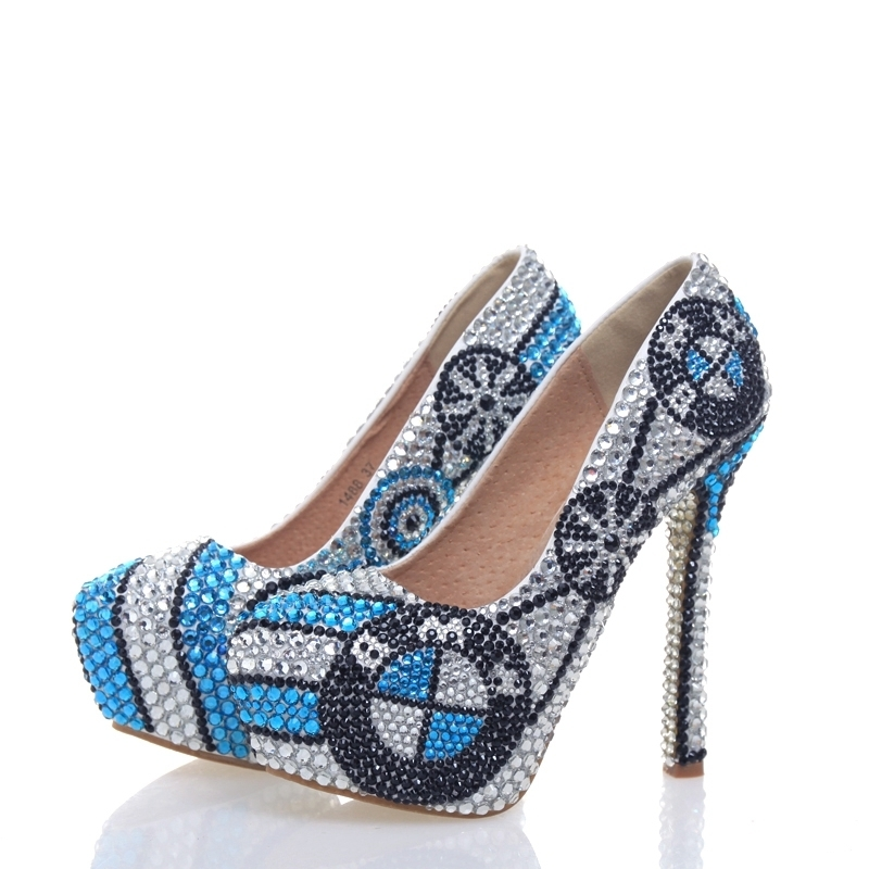New Designer High Heel Shoes Handmade Crystal Platform Pumps Silver with Blue Rhinestone Wedding Shoes Bridal Party Prom ShoesNew Designer High Heel Shoes Handmade Crystal Platform Pumps Silver with Blue Rhinestone Wedding Shoes Bridal Party Prom Shoes