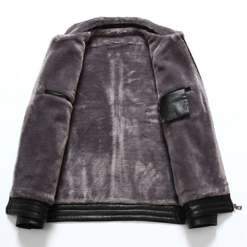 Chaqueta Nuevo Fertilizante Collar Camisa Black Los Un Hombres brown Es Engrosamiento Invierno Más Piel Abrigo Xl De Otoño Cuero HwqER6dnH