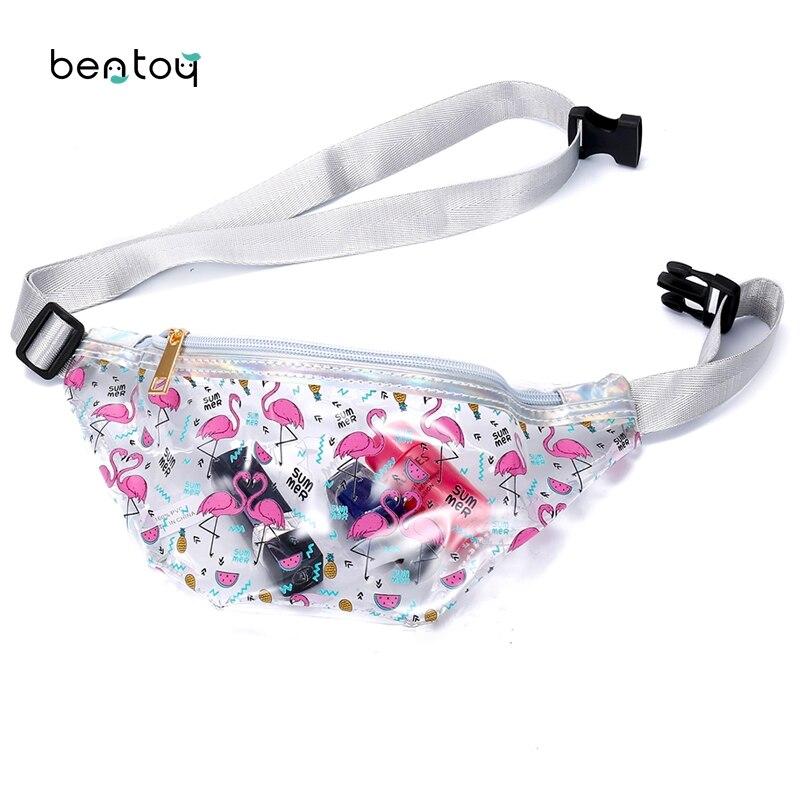 Summer Fanny Women Waist Pack Transparent Bag Cartoon Chest Bags Flamingo Horse Shoulder Bag For Teenager Girls Waterproof