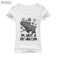 Funny Fat Unicorn T Shirts Women Harajuku Cartoon Design Tshirt White Modal T-shirt Summer Short Sleeve Tee Tops Clothes