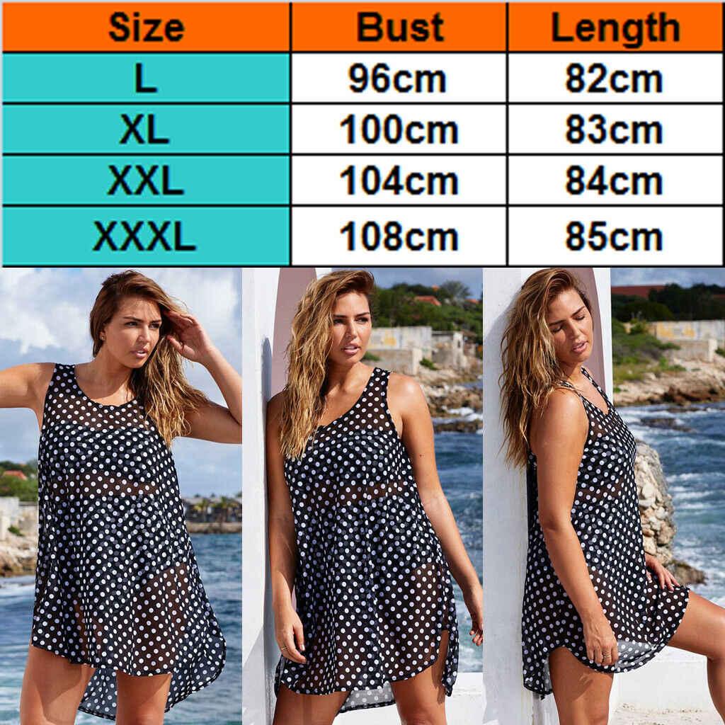 2019 Hete Vrouwen Bikini Cover Up Beach Jurk Kaftan Sarong Badmode Zwart sexy vlekken Badpak Plus Size