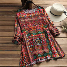 Women Boho Floral Baggy Cotton Linen Long Sleeve Dress Ladies Casual Loose 2019 New Arrival