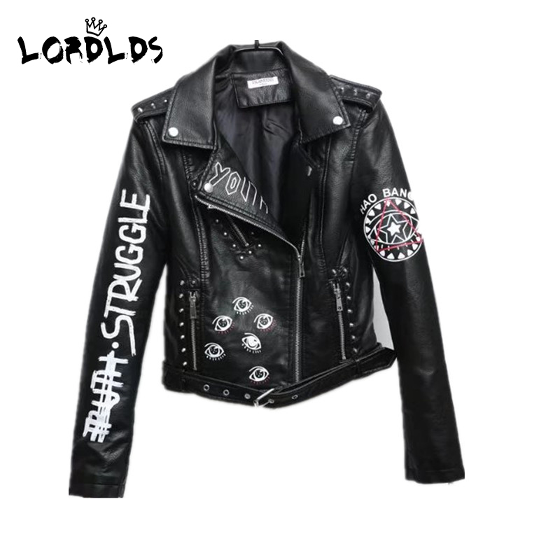 LORDXX Black Graffiti Leather Jacket Women 2019 New Spring Punk Moto Coat Cropped Faux Jackets with
