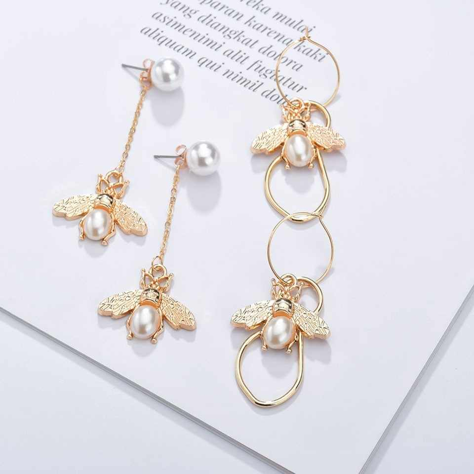 Women Fashion Drop Earrings Cute Bee Design With Pearl Trendy Jewelry Female Drop Earrings Handmade Earring Jewelry Gifts