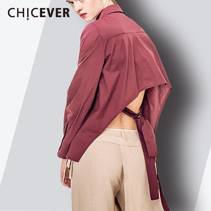 CHICEVER 2019 chemise d'été pour femmes Blouses haut dos nu à lacets manches longues grande taille asymétrie chemises vêtements mode nouveau