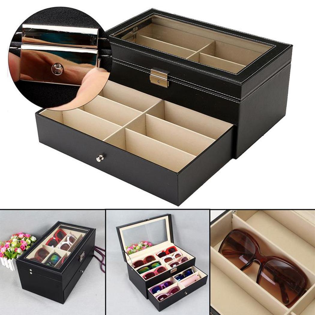 Дисплей черная коллекция солнцезащитные очки для женщин часы хранения Пряжка коробка ювелирные изделия двухслойные и т. д. 12 металлические ...