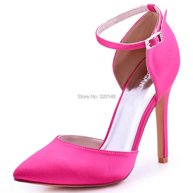 c979af89a011 Women High Heel Evening party Pumps Ivory Hot pink Pointed Toe Ankle Strap Satin  Bridesmaid Wedding Bridal Shoes Burgundy HC1602