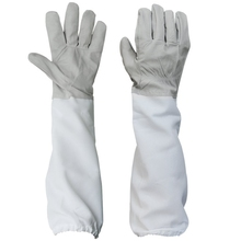 1 Pair of Gloves with Protective Sleeves ventilated Professional Anti Bee for Apiculture Beekeeper - gray and White beekeeping protective gloves sheepskin sleeves ventilated professional anti bee for apiculture beekeeper beehive
