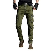 Vogue Man 2019 Pant Cotton Stretch Cargo Trouser Military Style Straight Many Pocket Army Green Blue Khaki Black Cargo Pant Male