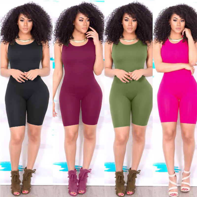 Hirigin Sexy Women Casual Fashion Bodycon Playsuit Sleeveless Solid Skinny Slim Jumpsuit Romper