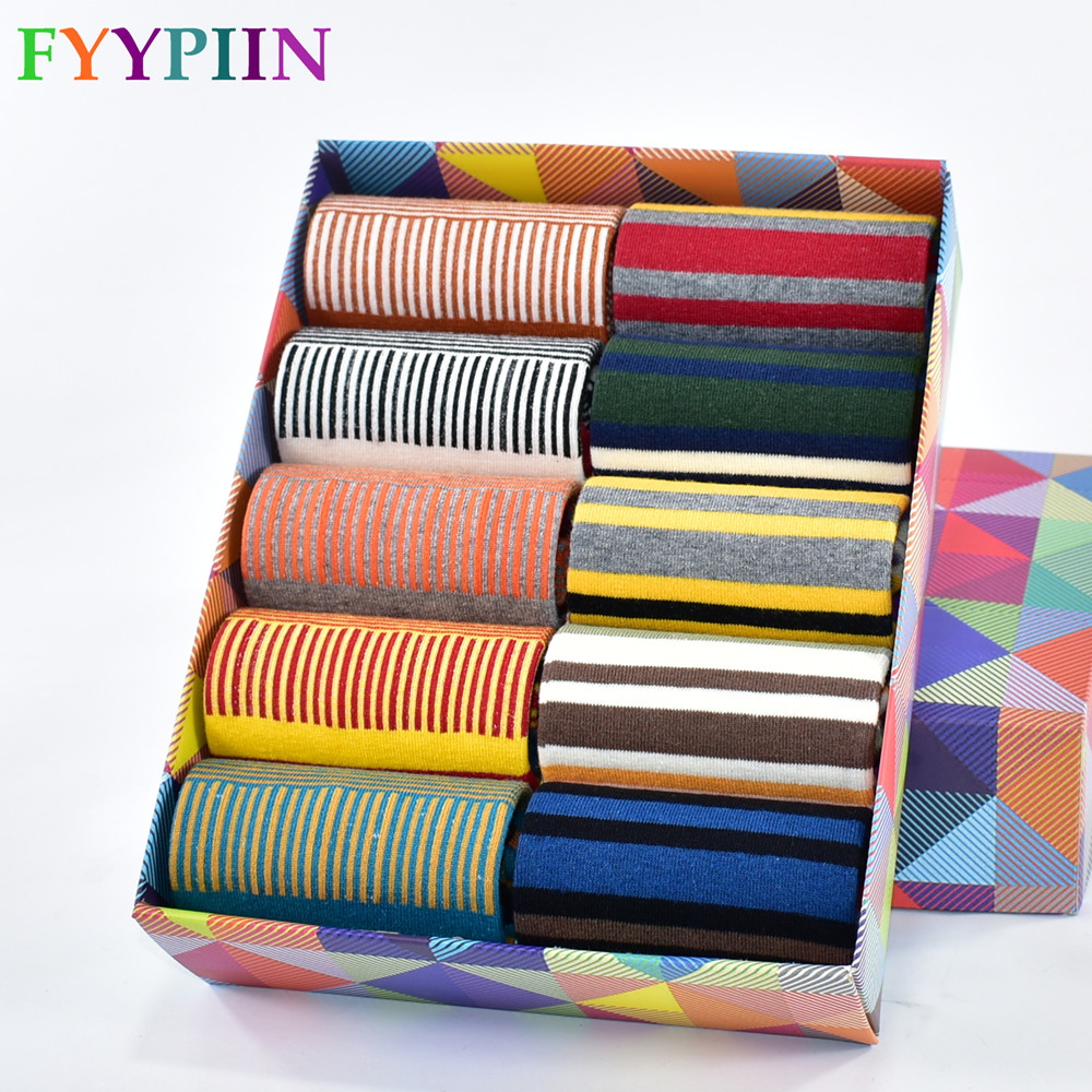 2019 Spring And Summer Socks Men's Fashion Casual Color Stripes Happy For Summer Cotton Socks Men