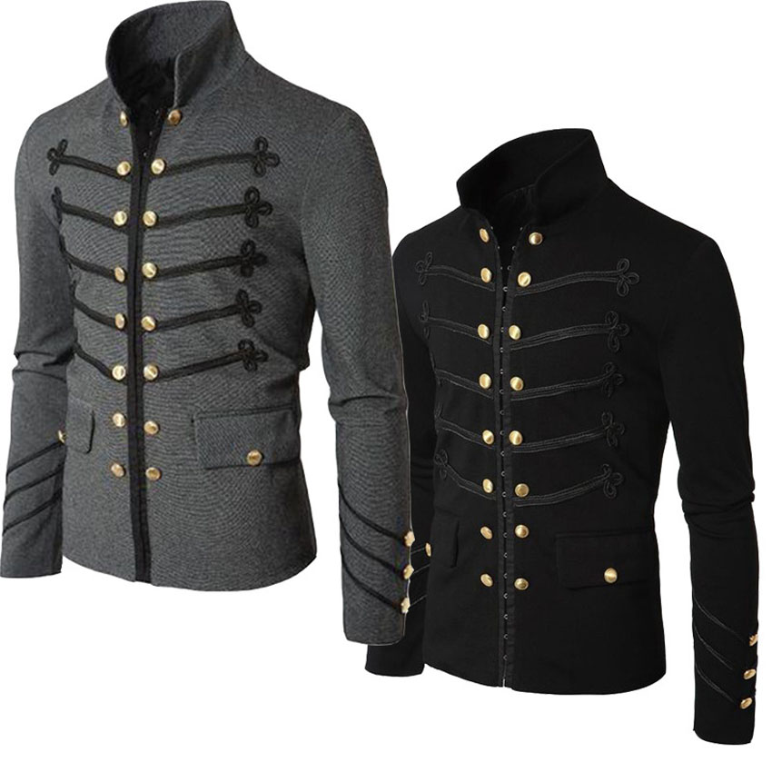 S-5XL Medieval Renaissance Man Victorian Coat Halloween Gothic Steampunk Palace Jacket Men Slim Zipper Outfits Knight Costumes