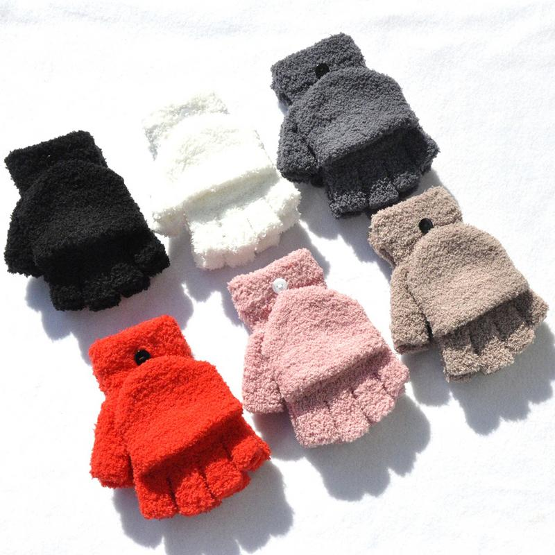 1 Pair Unisex Winter Gloves Warm Coral Fleece Gloves Warm Knitted Half-finger Gloves for Men and Women