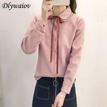 цена на Bow Bouble Collar Shirt Women Pinstripe Long Sleeve Solid Color Small Fresh Blouse 2018 Autumn Female  Korean Student Clothes