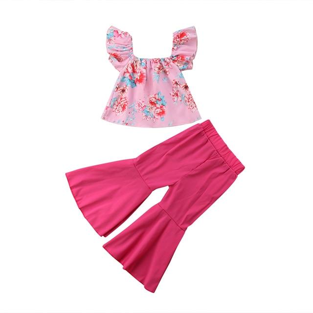 חדש Arrivels ילדים בנות כבוי כתף בגדי סט קיץ פרחוני חולצות + התלקחות צפצף חותלות 2 PCS תלבושת ילדי סט