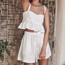 Womens Sexy Casual Strap Ruffle Tube Top Solid White Shorts Two Piece Set Outfits Streetwear crop top недорого