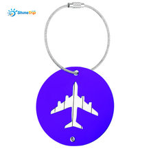SHINETRIP 2pcs Aluminum Alloy Travel Aircraft Boarding Plane Shape Suitcase Luggage Tag Label with Name Address(China)