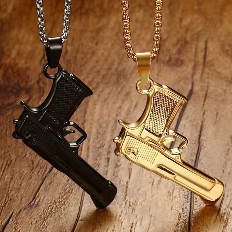 "Vnox Cool Pistol Gun Shape Pendant For Men Necklace Black Gold Color Stainless Steel Punk Male Jewellry 24"" Box Chain Hiphop"