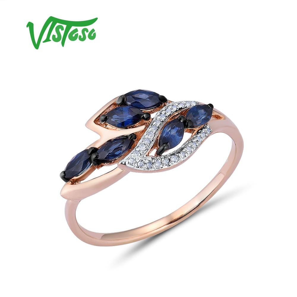 VISTOSO Gold Rings For Women Genuine 14K 585 Rose Gold Ring Leaves Shiny Diamond Blue Sapphire