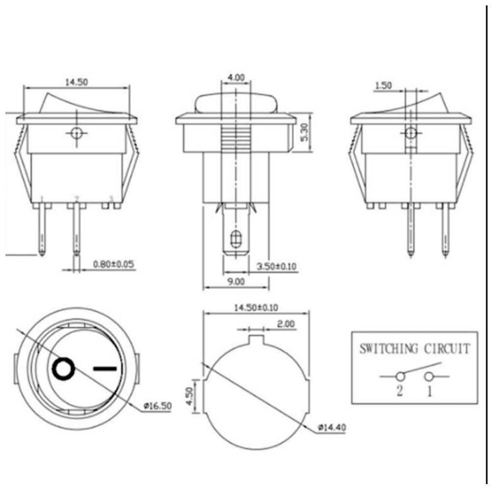 10 pièces petit rond noir 2 broches 2-Files 3A/250V 6A/125V interrupteur à bascule interrupteur à bascule