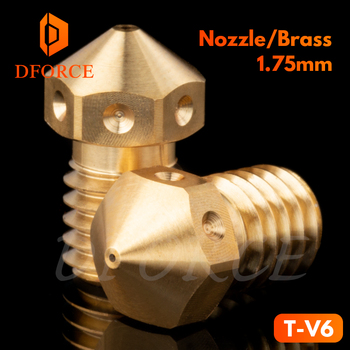 DFORCE T-V6 nozzle Top quality V6 Nozzle for 3D printers hotend M6 Thread for E3D Nozzles hotend titan extruder mellow all metal nf crazy hotend v6 copper nozzle for ender 3 cr10 prusa i3 mk3s alfawise titan bmg extruder 3d printer parts