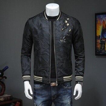 Chaqueta negra bordada para hombre, moda informal, ajustada, soporte de rompevientos con cuello, chaquetas Bomber, primavera Otoño, abrigo masculino de alta calidad