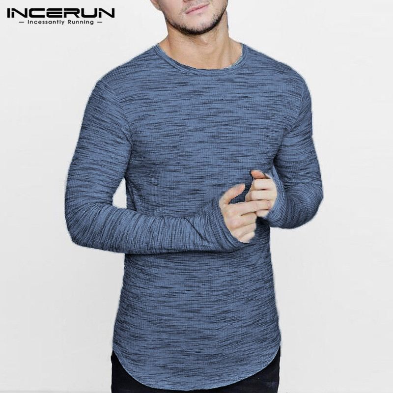 INCERUN Brand Mens T-shirt O Neck Long Sleeve Solid Color Loose Baggy Casual Fashion T-shirt Men Tee Shirt Summer Camisetas 2019