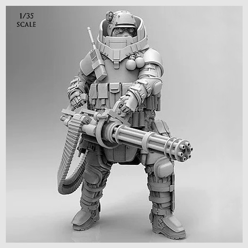 1/35 Resin Kits Avant-garde Heavy-duty Commando  (white Model) Resin Soldier (50-60mm) T35001