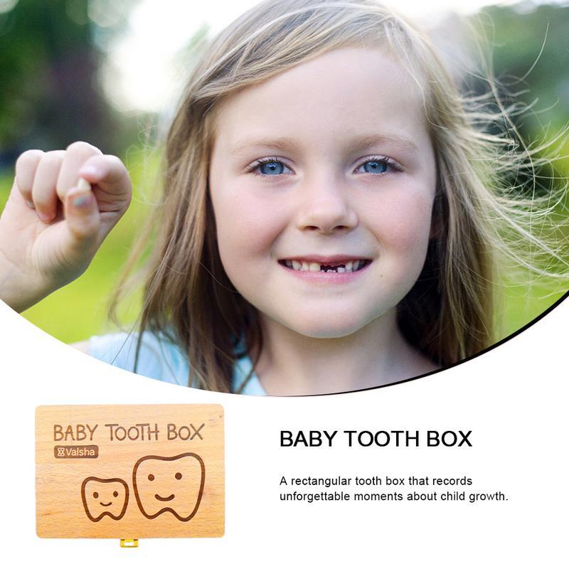 Children's Tooth Box Teeth Wooden Storage Box Baby Teeth Storage Keepsakes Creative And Children Gift