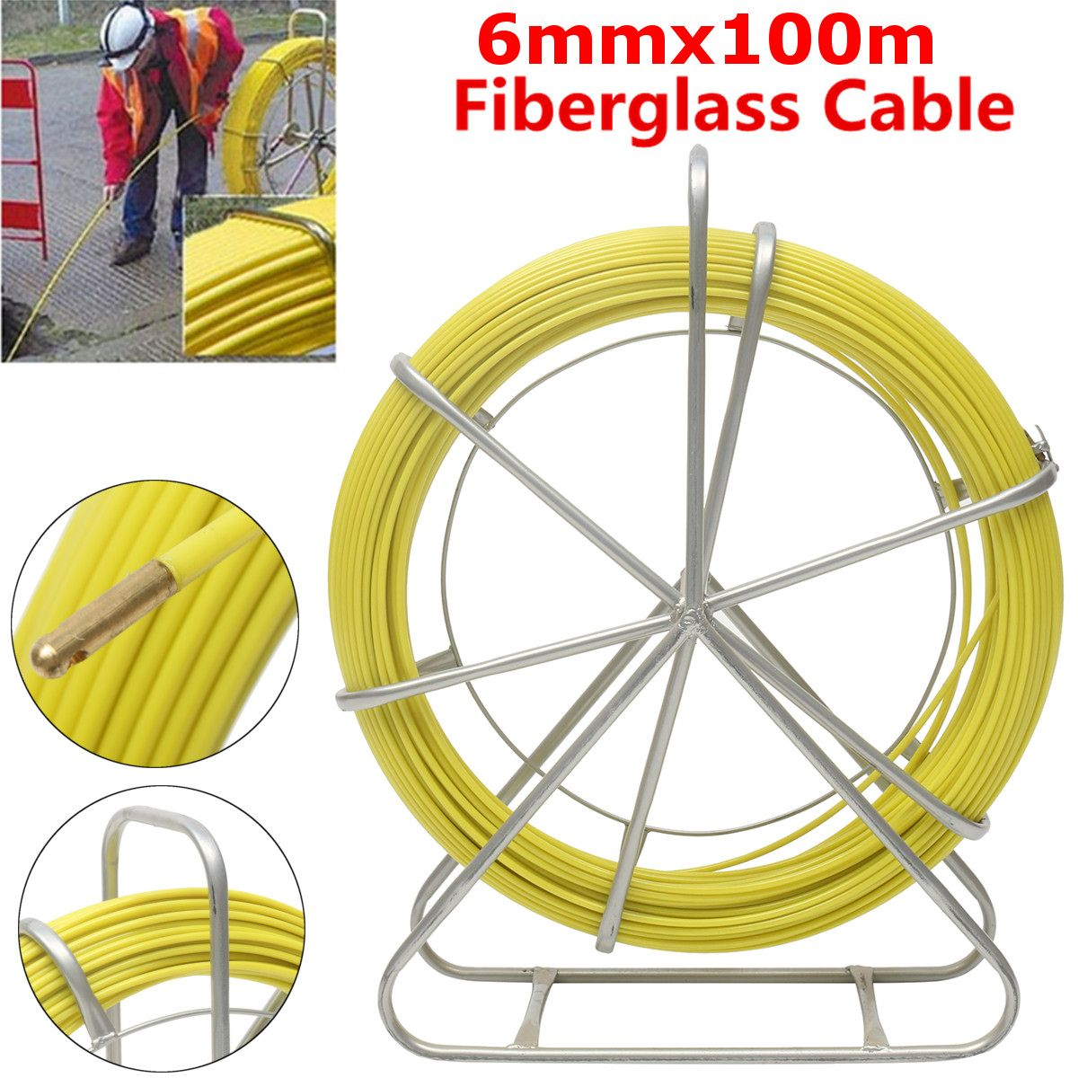 6mm 100m Fish Tape Puller Fiberglass Wire Cable Pipe Piercer Wire Running Rod Duct Rodder For Floor Conduit Telecom Wall Tools6mm 100m Fish Tape Puller Fiberglass Wire Cable Pipe Piercer Wire Running Rod Duct Rodder For Floor Conduit Telecom Wall Tools