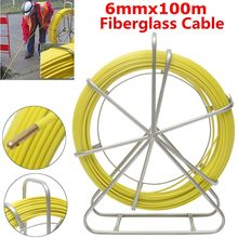 6mm 100m Fish Tape Puller Fiberglass Wire Cable Pipe Piercer Wire Running Rod Duct Rodder For Floor Conduit Telecom Wall Tools