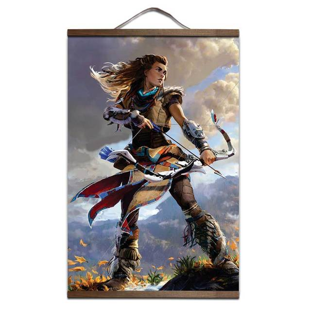 Horizon Zero Dawn poster for HD poster interior decoration painting with solid wood hanging scroll