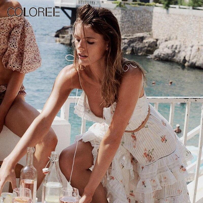 Été vacances Boho plage robe 2019 élégant couche volants sans bretelles Floral imprimé dentelle robe de haute qualité piste robe