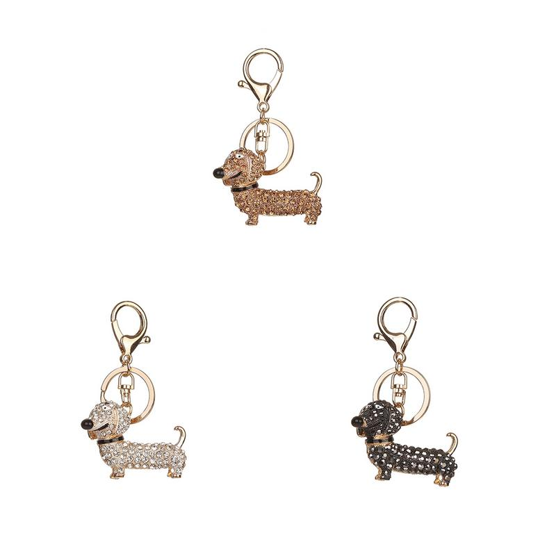 Cute Alloy Diamond Dachshund Dog Keychain Europe & The United States Popular Keychain Bag Hanging Ornament Valentine's Day Gift