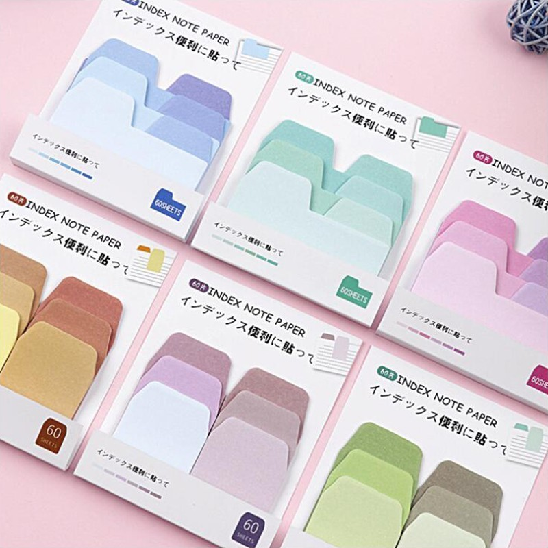 Memo Pads Japanese Self-adhesive Adhesive Note Gradient Series Sticky Notes Office Stationery And School Supplies 1PCS / 60pages