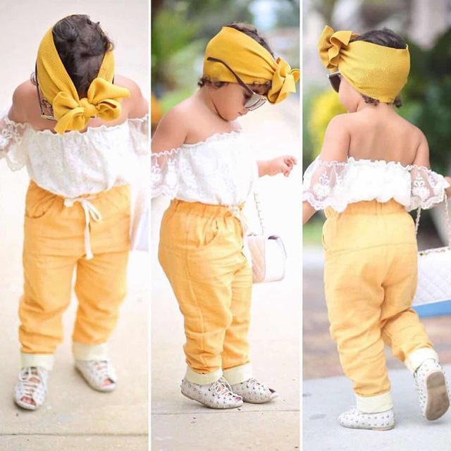 f79d8764170 Children s Wear 2019 Summer New Fashion Solid Color One-Shoulder Top + Pants  + Headband Three-Piece Set 2-7Y