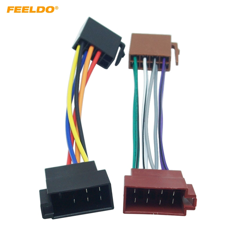 FEELDO 10Par Car ISO Radio Plug Adapter Wiring Harness For VW Audio Power & Loudspeaker ISO 2 Heads Male to Female #FD1954