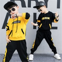 Boys Clothing Set Casual Printing Hooded Sweatshirt Harem Pants 2ocs Spring Autumn Hip Hop Dance Costumes Boys Tracksuit 4 10 Y