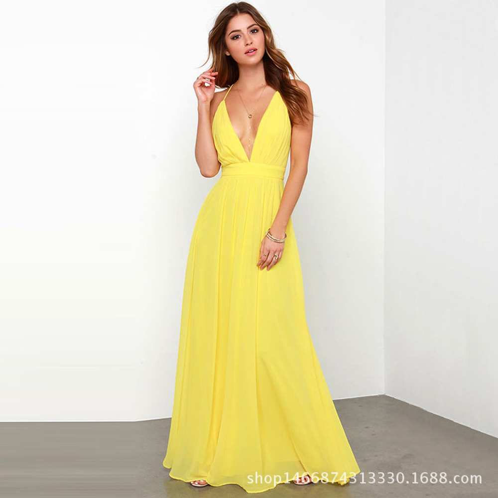 Fashion Cheap Deep V-neck Backless A-line Yellow Sleeveless Sexy Evening Dresses 2018 New Arrival Evening Prom Gowns For Women