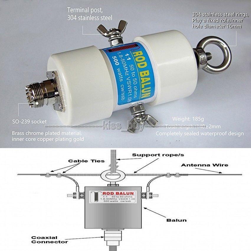 1:1 Étanche HF Balun pour 160 m-6 m Bandes (1.8-50 mhz) 500 w pour Ondes Courtes antenne balun